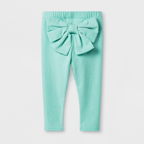 417c89cd1 Baby Girls' Stretch Jersey Bow Back Leggings Pants - Cat & Jack™ Green  Newborn : Target
