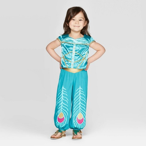 Toddler Girls' 2pc Aladdin JumpSuit Set - Turquoise - image 1 of 3