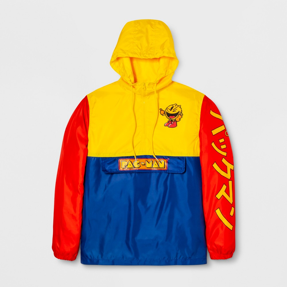 Men's Long Sleeve Pac-Man Hooded Pullover Anorak Jacket - Navy/Yellow/Red L, Multicolored