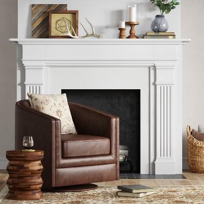 Gentil Berwick Barrel Swivel Chair Faux Leather Brown   Threshold™