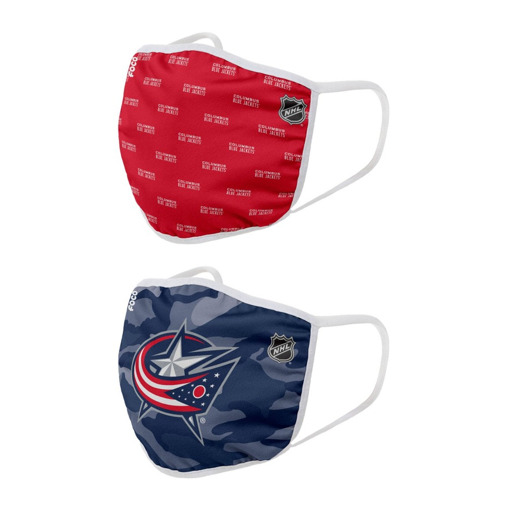 Nhl Columbus Blue Jackets Youth Clutch Printed Face Covering 2pk