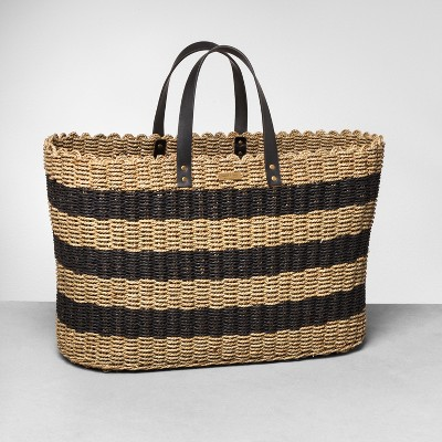 Striped Seagrass Tote Brown/Tan - Hearth & Hand™ with Magnolia
