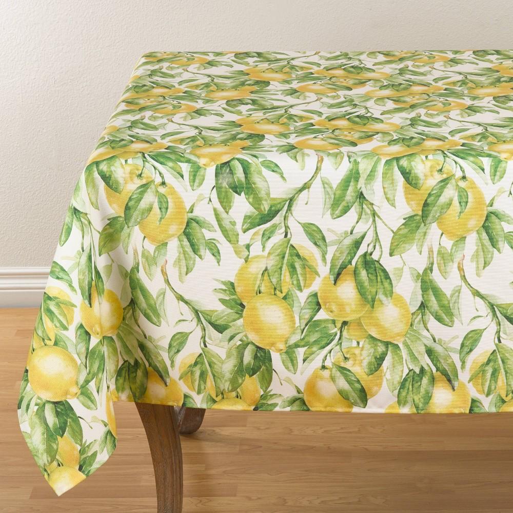 "Image of ""104"""" x 65"""" Polyester Lemon Print Tablecloth - Saro Lifestyle"""