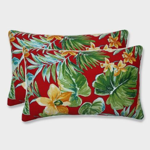 2pk Beachcrest Poppy Rectangular Throw Pillows Red - Pillow Perfect - image 1 of 1