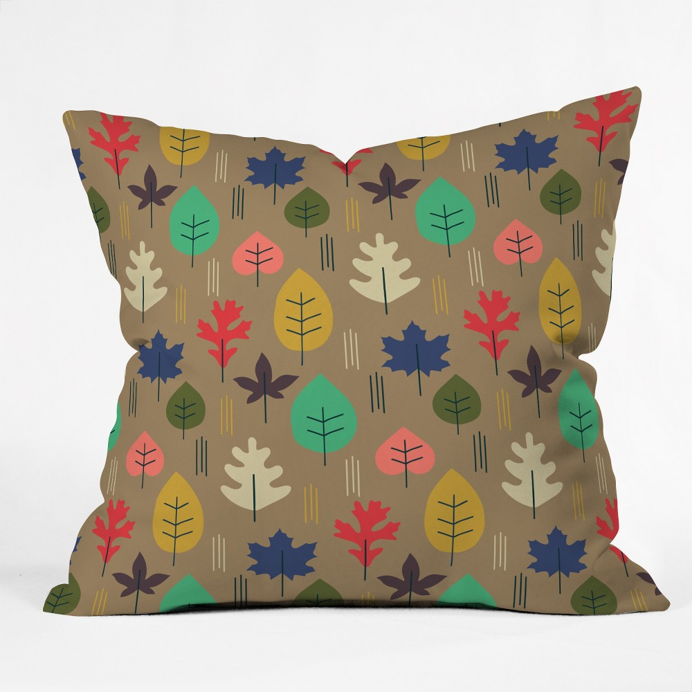Zoe Wodarz Leaf It All Behind Square Throw Pillow Brown Deny Designs