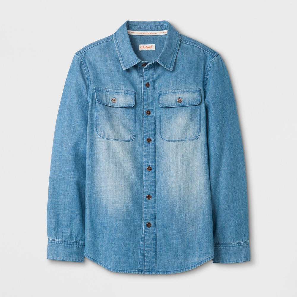 Boys' Long Sleeve Button-Down Shirt - Cat & Jack Denim Blue M Husky