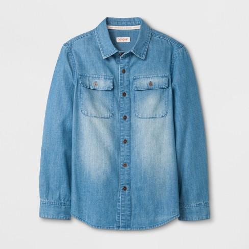 57becf5dde Boys  Long Sleeve Button-Down Shirt - Cat   Jack™ Denim Blue   Target