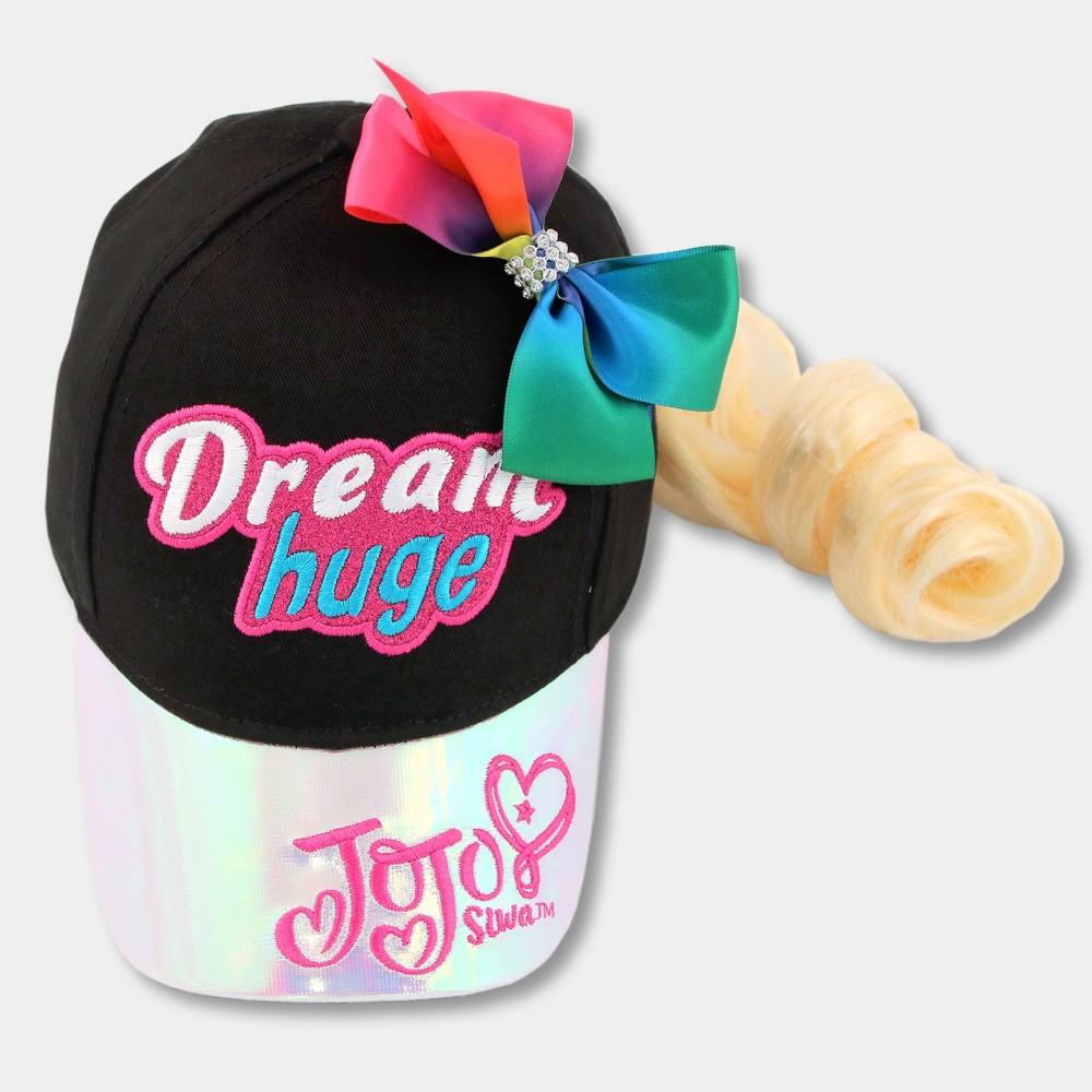 Image of Girls' Nickelodeon JoJo Siwa Baseball Cap with Bow and Hair Extension - Black