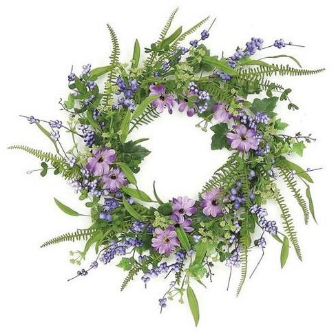"""Northlight 24"""" Unlit Purple/Green Artificial Daisies with Ferns Spring Floral Wreath - image 1 of 1"""
