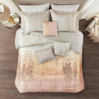 7pc Midnight Sky Metallic Print Comforter Set