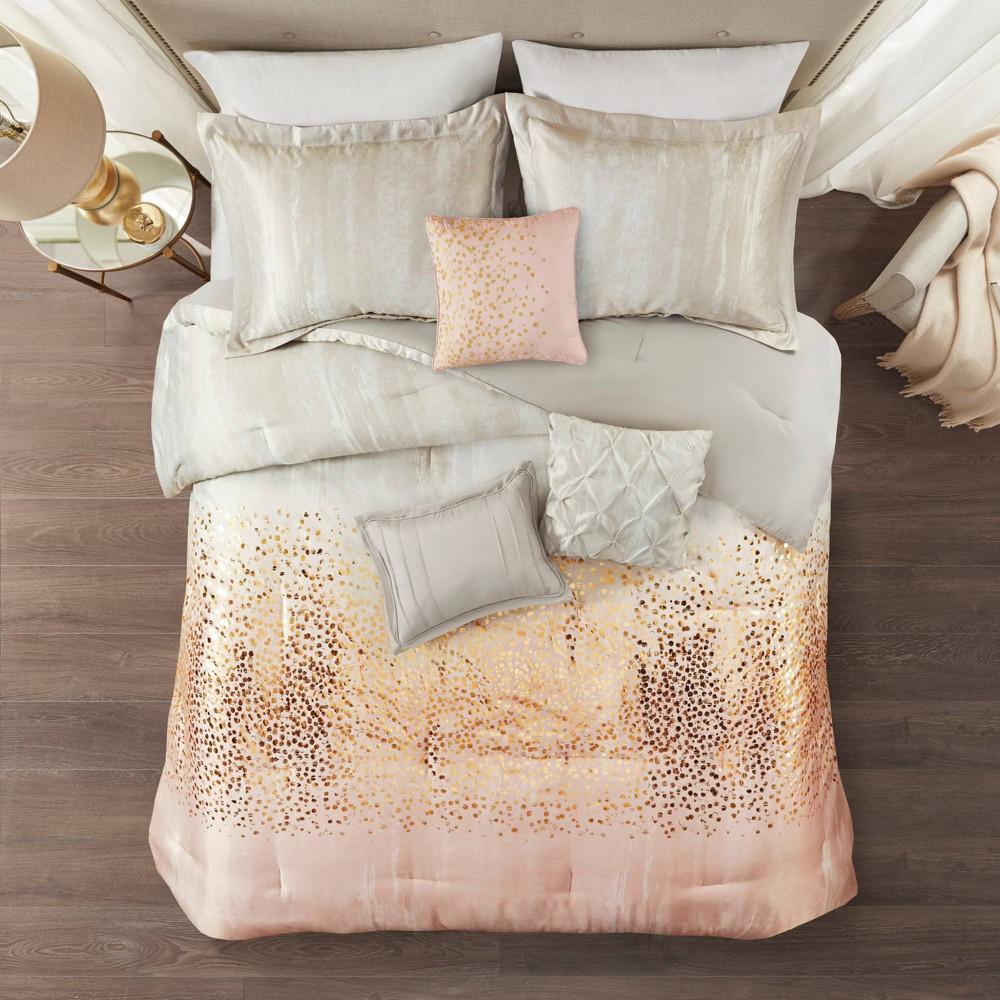King 7pc Midnight Sky Metallic Print Comforter Set Blush