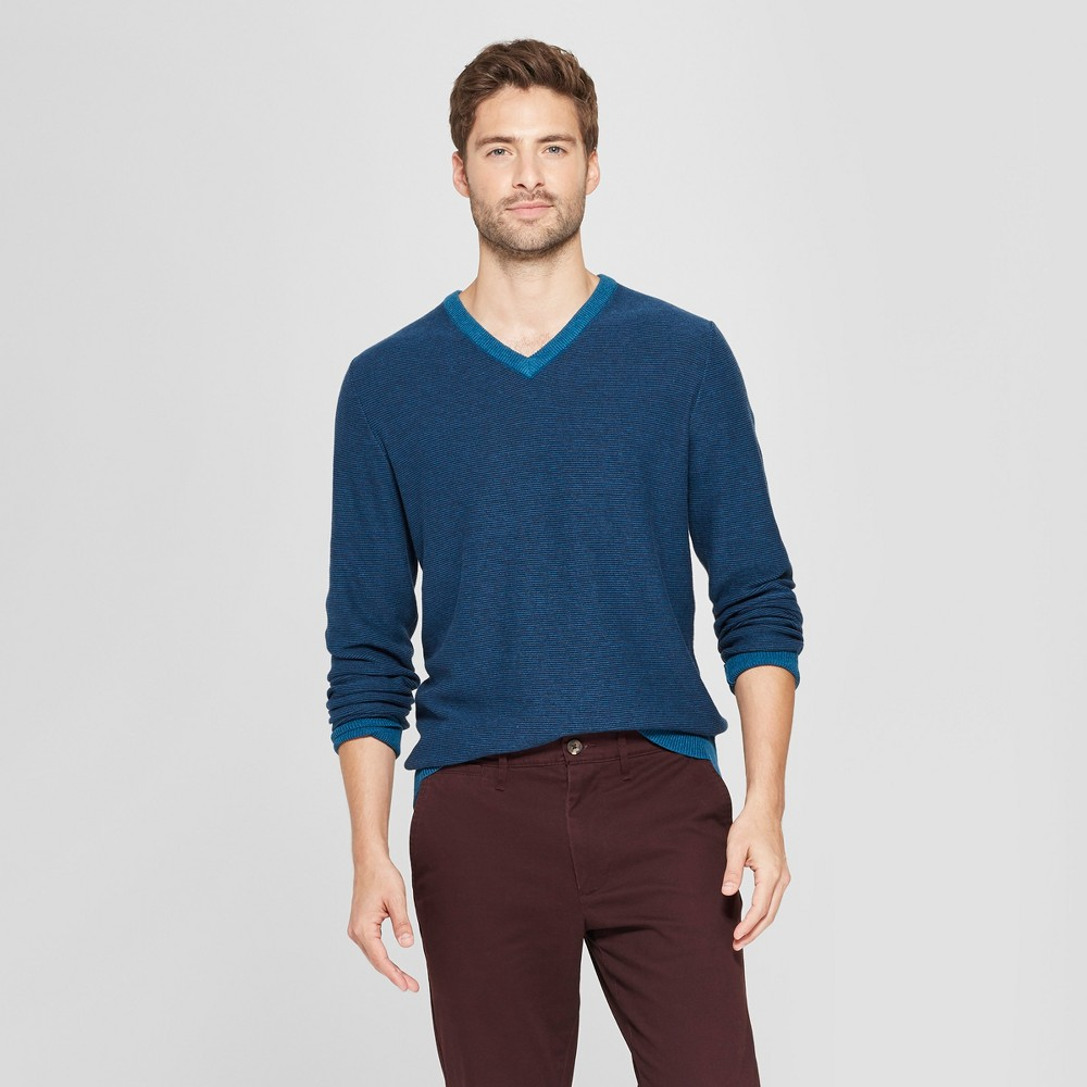 Men's Striped Long Sleeve V-Neck Sweater - Goodfellow & Co Blue M