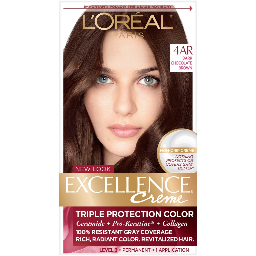 L'Oreal Paris Excellence Triple Protection Permanent Hair Color - 4AR Dark Chocolate Brown - 1 Kit