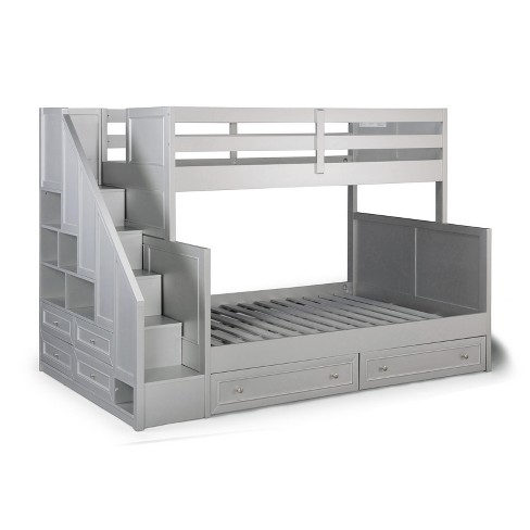 Venice Twin Over Full Bunk Bed With Steps Lower Storage Drawers Silver Gray Home Styles