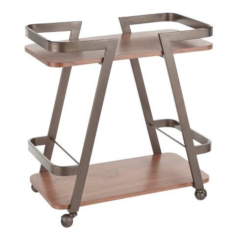 Seven Industrial Bar Cart Antique Walnut - Lumisource - image 1 of 4