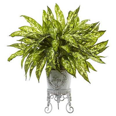 2' Aglaonema with Metal Planter - Nearly Natural