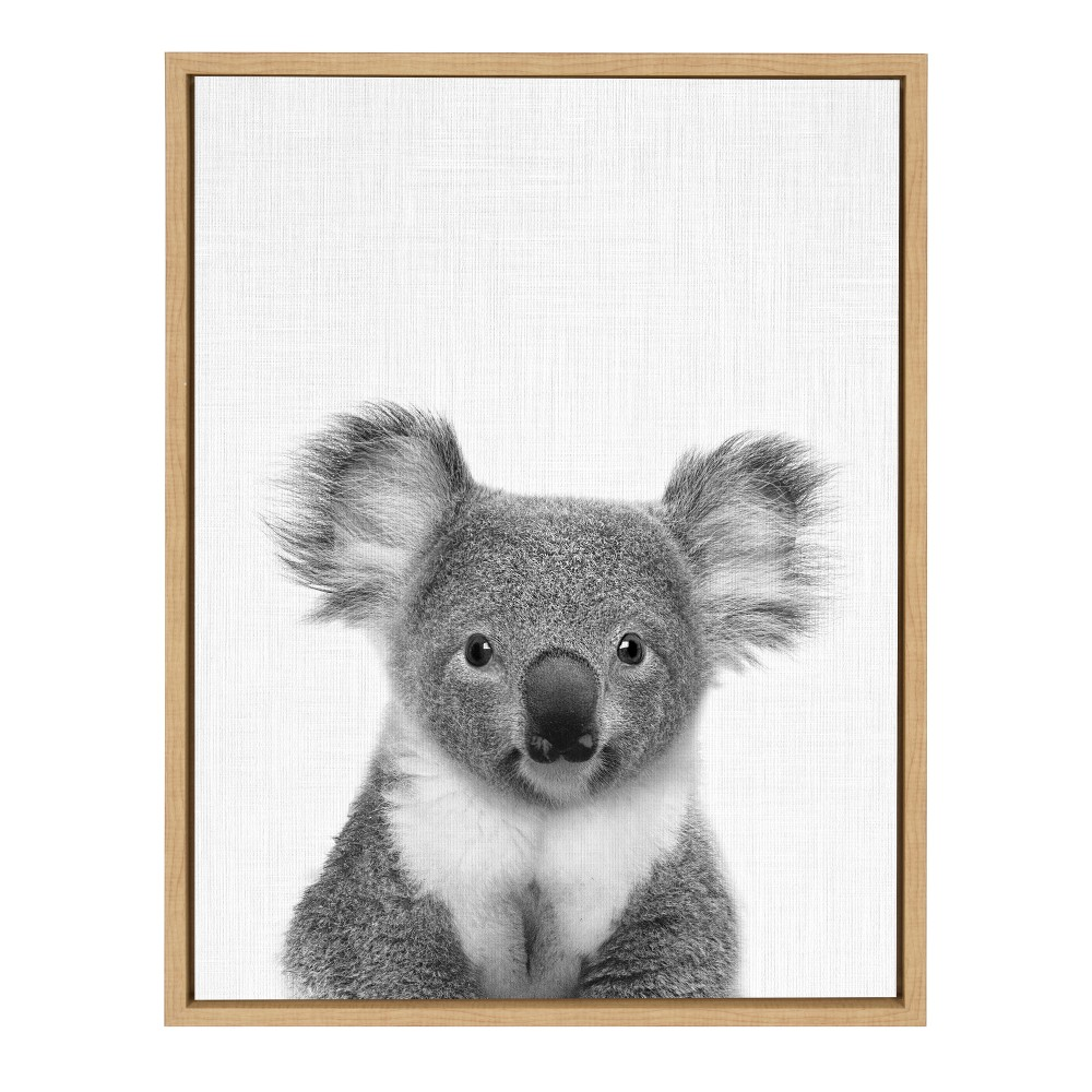 "Image of ""Kate & Laurel 24""""x18"""" Sylvie Koala Bear And Portrait By Simon Te Tai Framed Wall Canvas Wood"""