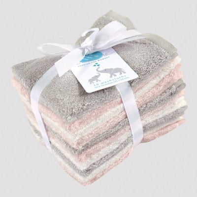 Hudson Baby Girls' 10pk Washcloth Set - Pink/Gray 0-24M