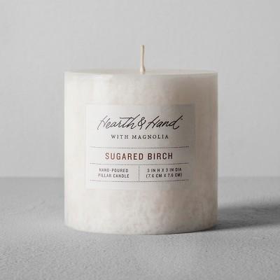 Pillar Candle (3 x3 )- Sugared Birch - Hearth & Hand™ with Magnolia