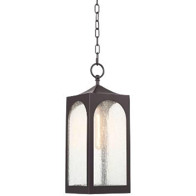 "Possini Euro Design Modern Outdoor Ceiling Light Hanging Bronze 19"" Seedy Glass Lantern for Exterior House Porch Patio Deck"