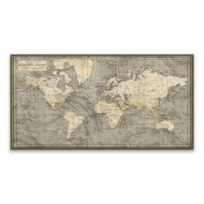 46 x24  Framed World map Wall Canvas - Artissimo Designs