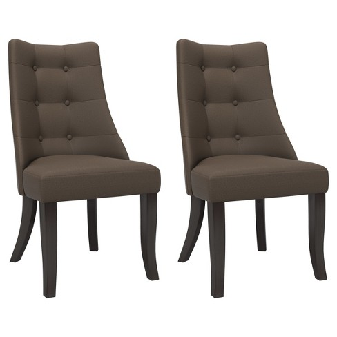 Button Tufted Dining Accent Chair - Brown/Gray (Set of 2) - CorLiving - image 1 of 5