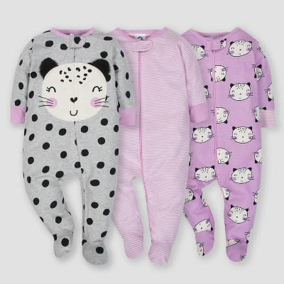 Gerber® Baby Girls' 3pk Sleep 'N Play Cat - Purple/Gray Newborn