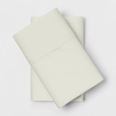Standard 300 Thread Count Solid Organic Pillowcase Set Snowfall White - Threshold™
