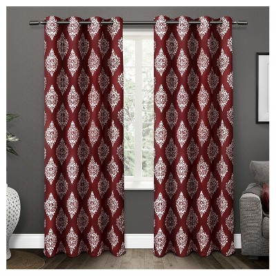 Set of 2 / Pair Medallion Blackout Thermal Grommet Top Window Curtain Panels Exclusive Home