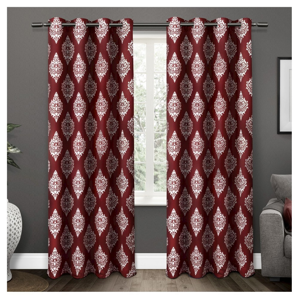 Set Of 2 84 34 X52 34 Medallion Blackout Thermal Grommet Top Window Curtain Panels Burgundy Exclusive Home