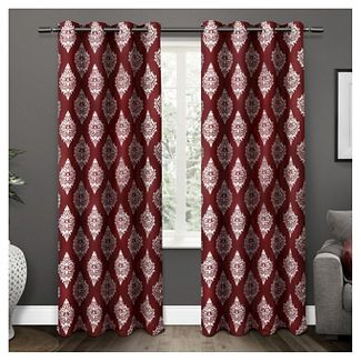 """Set of 2 / Pair Medallion Blackout Thermal Grommet Top Window Curtain Panels Burgundy (52""""x84"""") Exclusive Home"""