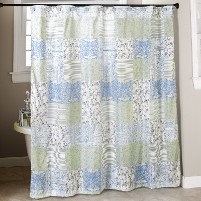 Lakeside Madeleine Patchwork Shower Curtain - Bathroom Farmhouse Accent