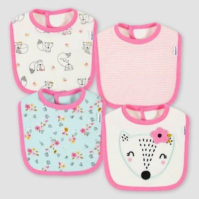 Gerber Baby Girls' 4pk Fox Bib - Blue