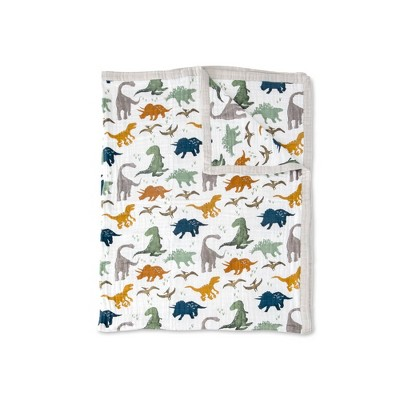 Little Unicorn XL Big Kid Cotton Muslin Quilt - Dino Friends