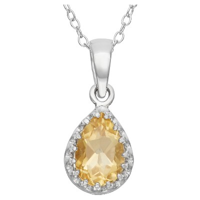 Pear-Cut Citrine Crown Pendant in Sterling Silver