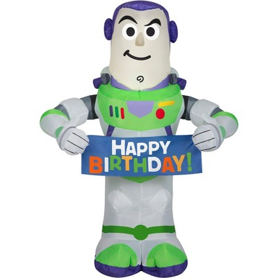 Gemmy Airblown Inflatable Birthday Party Buzz Lightyear, 3.5 ft Tall, white