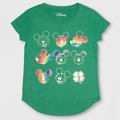 29c4b154e Girls' Mickey Mouse St. Patrick's Day Short Sleeve T-Shirt - Green : Target