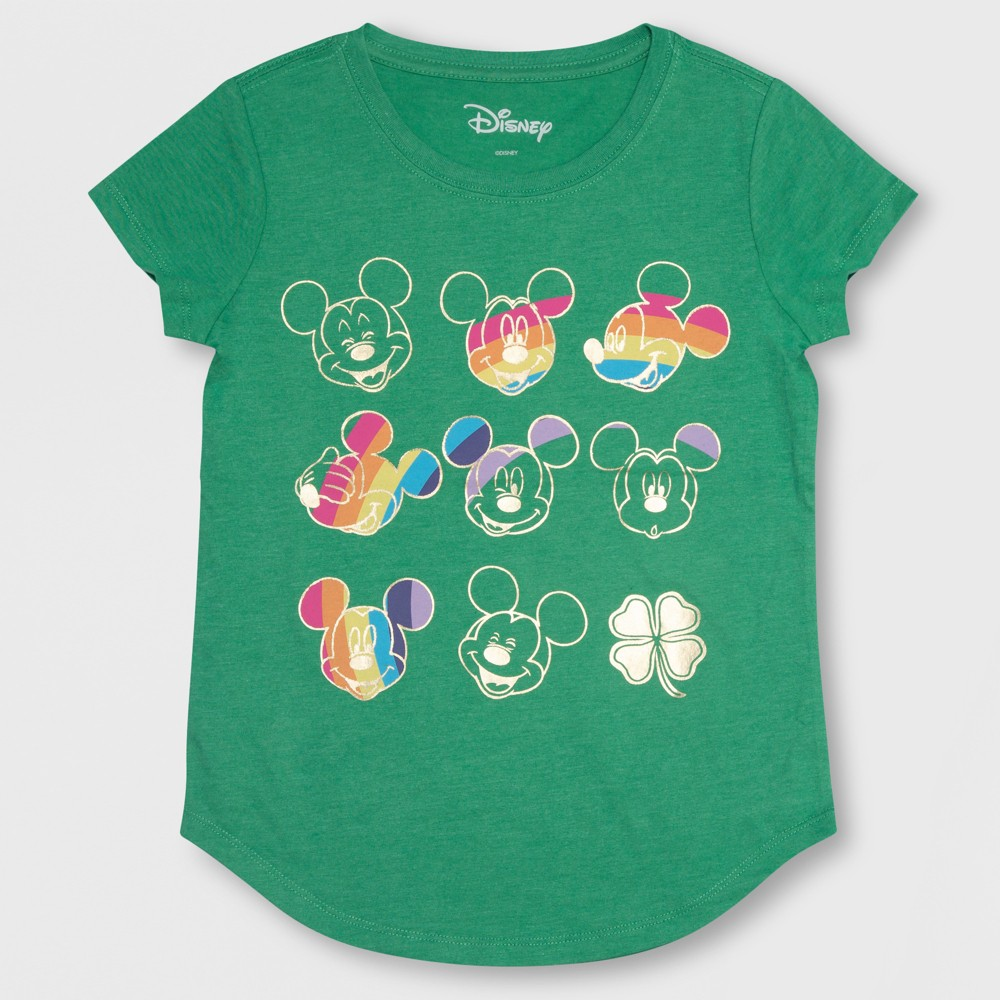 Girls' Mickey Mouse St. Patrick's Day Short Sleeve T-Shirt - Green L