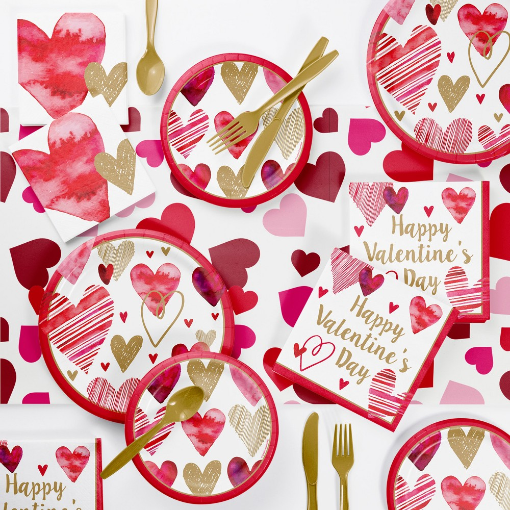 Best Price Watercolor Hearts Valentine Day Party Supplies Kit RedGold