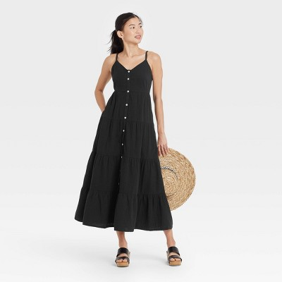 Women's Sleeveless Button-Front Tiered Dress - Universal Thread™