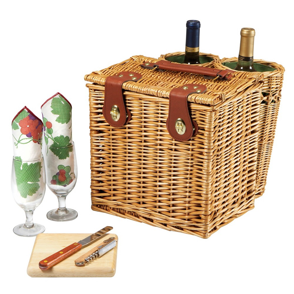 Picnic Time Vino Wine and Cheese Basket, Wood/Brown
