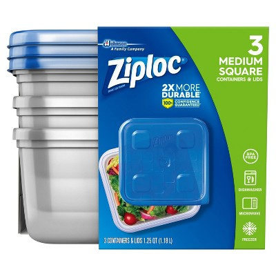Ziploc Medium Square Containers - 3ct