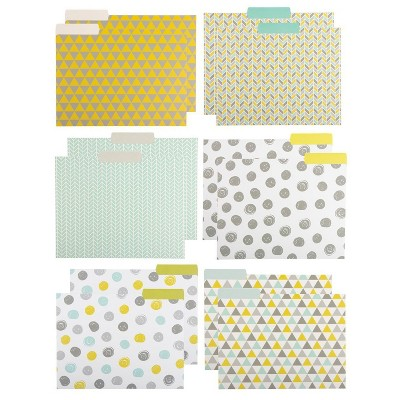"12 Count Decorative File Folder Geometric Colorful Designs Letter Size, 11.5x9"""