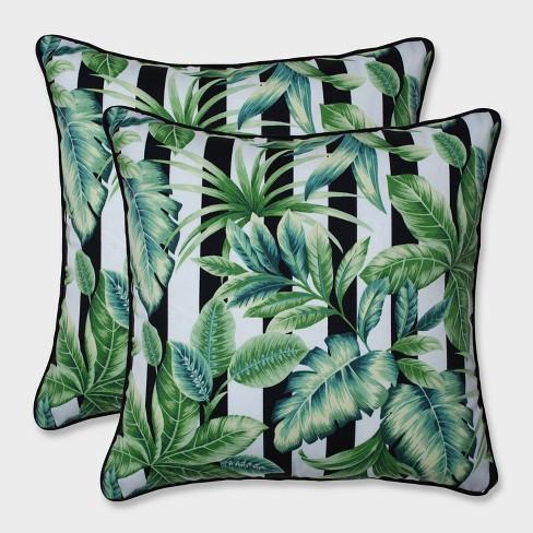 """18.5"""" 2pk Freemont Palmetto Throw Pillows Black - Pillow Perfect - image 1 of 2"""