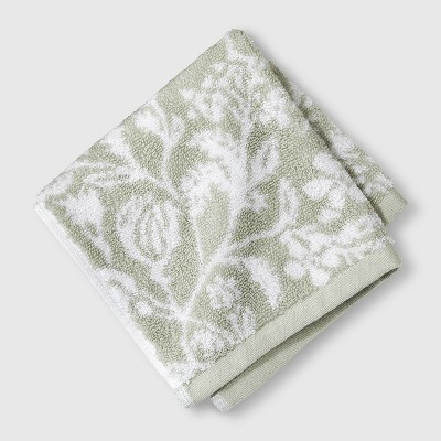 Performance Texture Washcloth Light Sage Green Floral - Threshold™