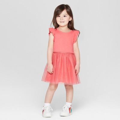 7d4ecb5a4f8c Toddler Girls' Glitter Dot Ruffle Sleeve A Line Dresses - Cat & Jack™ Red