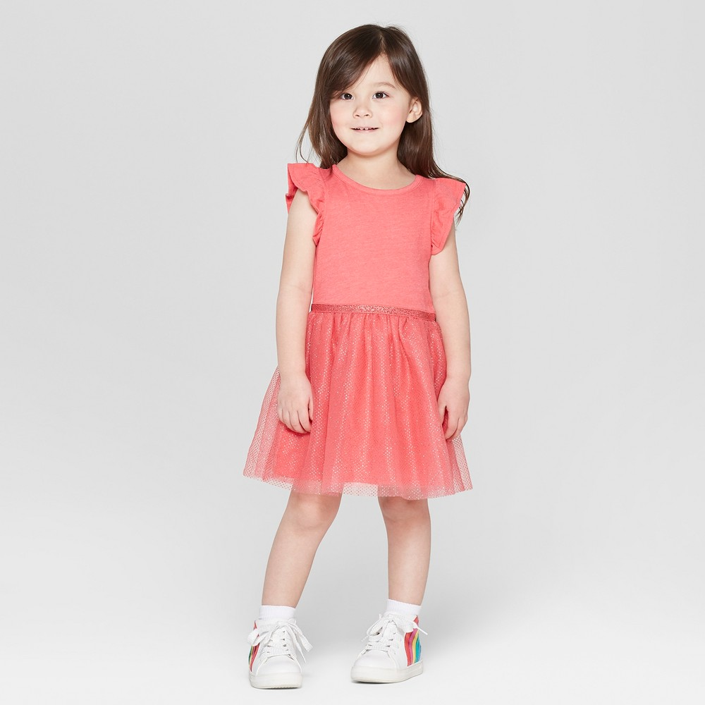 Toddler Girls' Glitter Dot Ruffle Sleeve A Line Dresses - Cat & Jack Red 2T, Orange