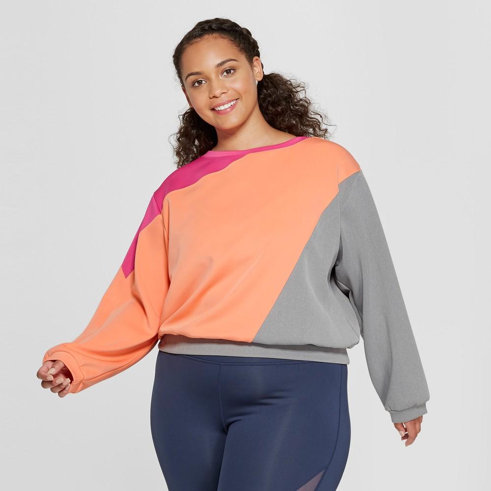 Women's Plus Size Color Block Sweatshirt - JoyLab Heather Gray 1X