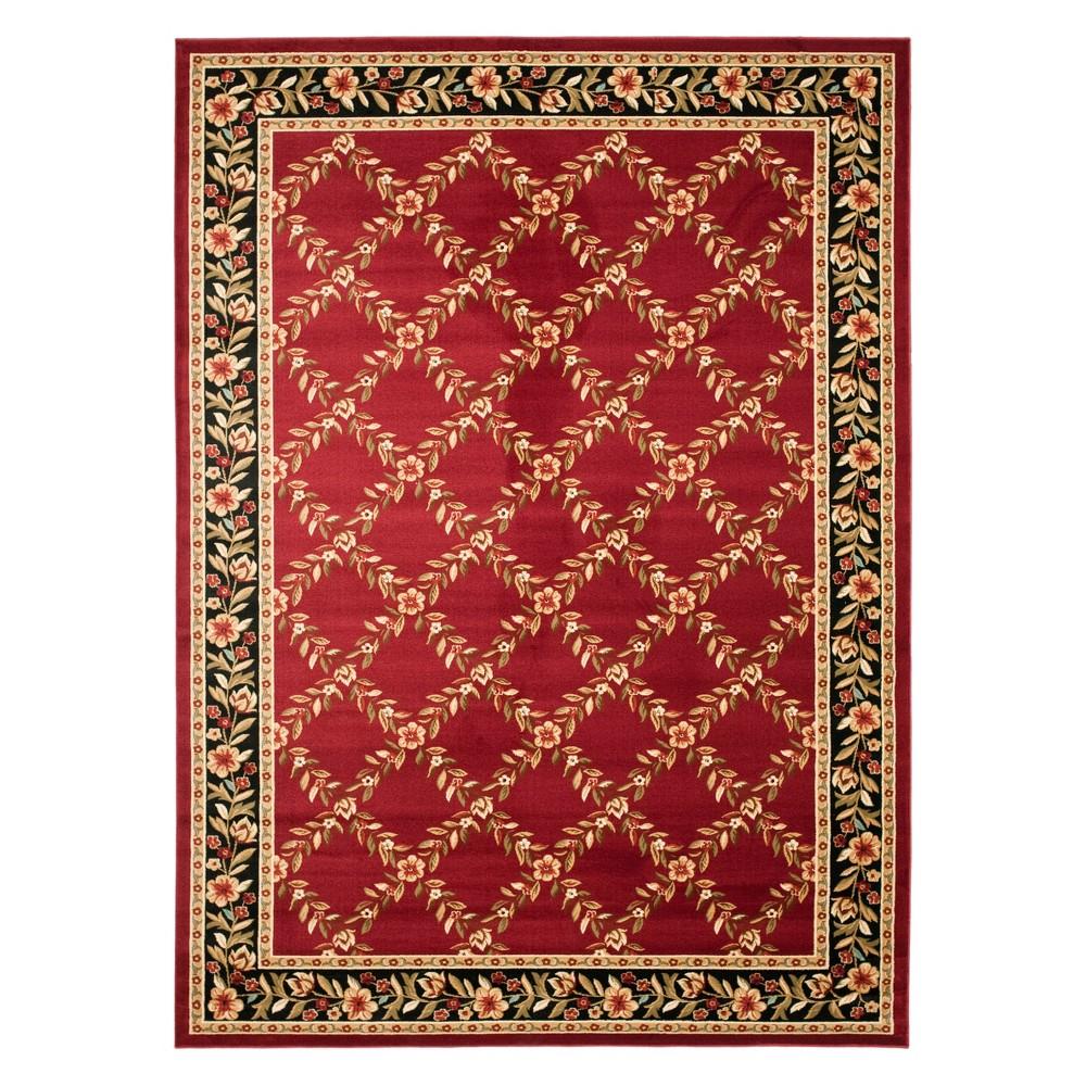8'X11' Floral Loomed Area Rug Red/Black - Safavieh