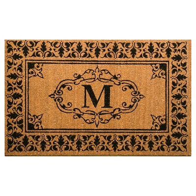 Light Brown Monogram Woven Doormat - (3'x5')- nuLOOM